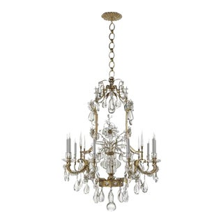 Visual Comfort Brass & Glass Chandelier For Sale