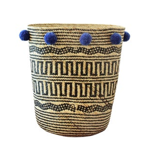 BrunnaCo Borneo Drum Tribal Basket With Blue Pom-Poms