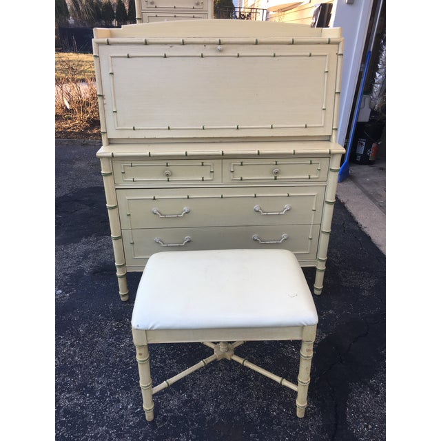 1970's Hollywood Regency Thomasville Faux Bamboo Secretary Desk and Bench - 2 Pieces For Sale In New York - Image 6 of 13