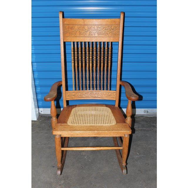 Early 1900s Wood Rocking Chair For Sale - Image 9 of 9