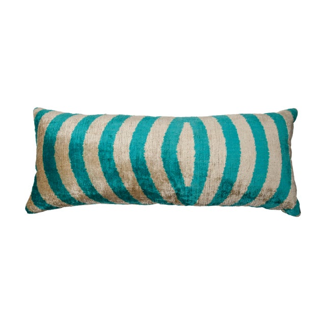 Asian Vintage X-Large Rectangle Turquoise/Silver Silk Velvet Ikat Pillow For Sale - Image 3 of 3