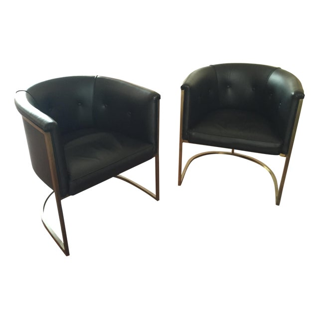 Lee Industries Black Modern Chairs - A Pair - Image 1 of 3