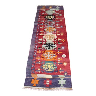 "Anatolian Turkish Multicolor Wool Kilim Rug Runner - 2'8"" x 8' For Sale"