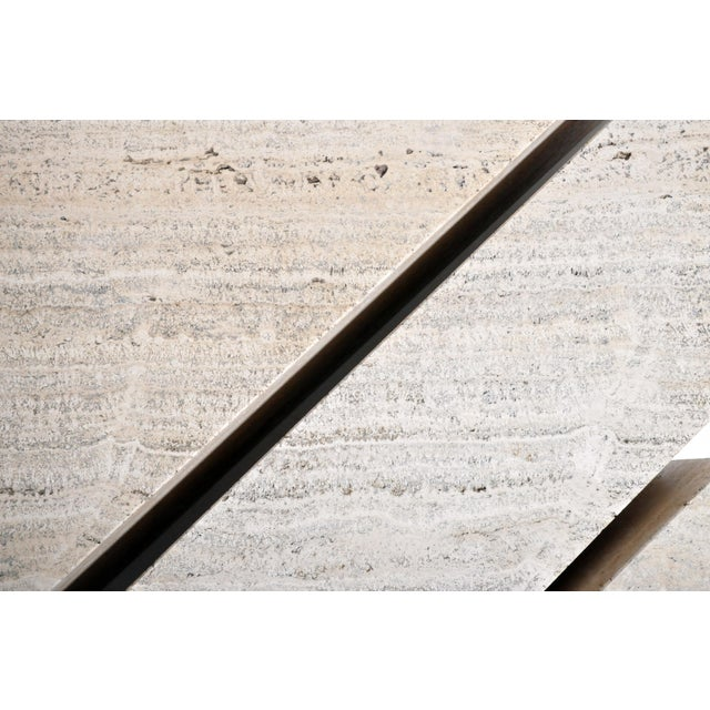 Italian Travertine Marble Three-Part Polygon Coffee Table For Sale - Image 12 of 13