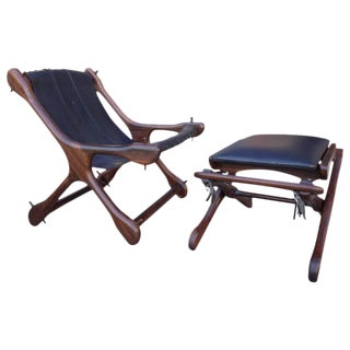 Mid-Century Don Shoemaker Leather Sling Chair and Ottoman in Rosewood