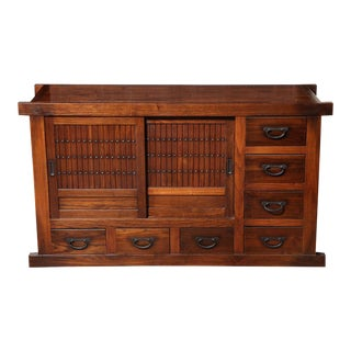 Japanese Meiji Period Brown Lacquered Sideboard With Doors and Drawers For Sale