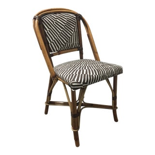 1960s Vintage Trina Turk Upholstery Rattan Side Chair For Sale