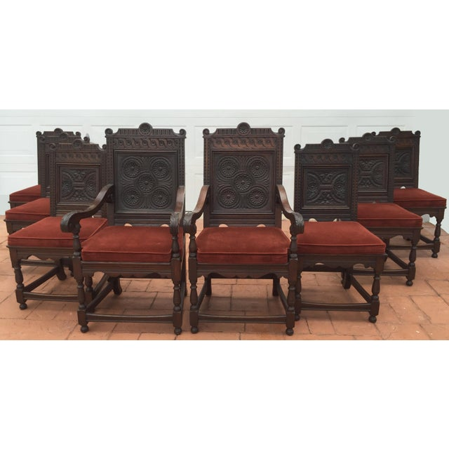 Jacobean Carved Oak Dining Chairs - Set of 8 - Image 4 of 7