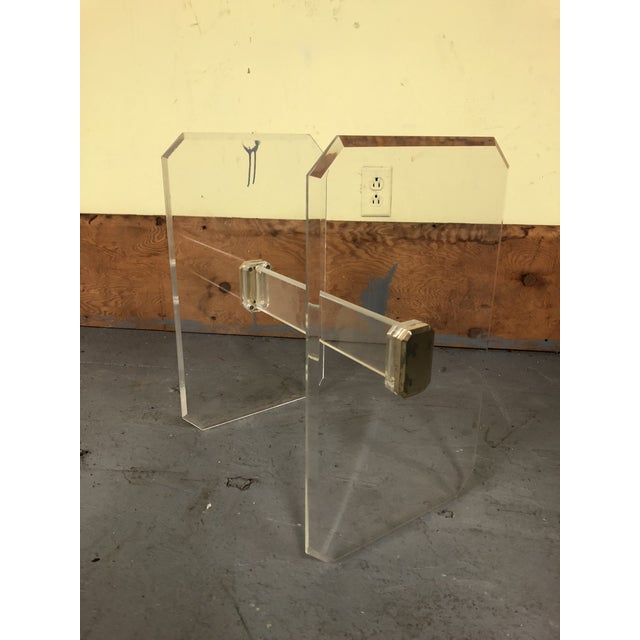1970s Mid-Century Modern Lucite & Brass Table Base For Sale - Image 11 of 11