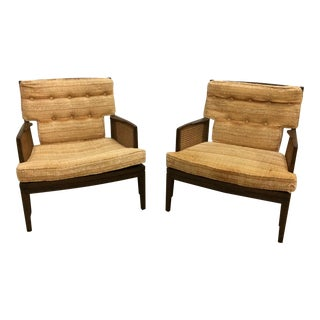 1960s Mid-Century Modern Baker Cane & Mahogany Lounge Chairs - a Pair For Sale