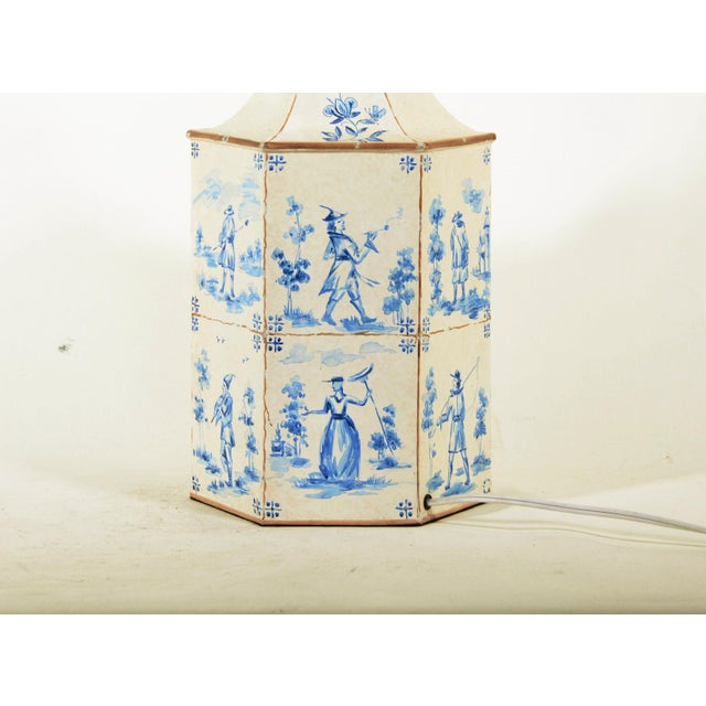 Vintage English Hand-Painted Blue and White in Delf Figures Tea Caddy Table Lamp For Sale In New York - Image 6 of 7
