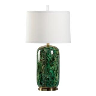 Newport Faux Emerald Green Malachite Lamp For Sale
