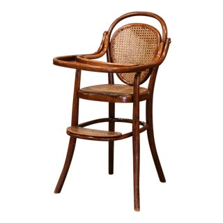 Early 20th Century French Bentwood and Cane High Baby Chair by M. Thonet For Sale
