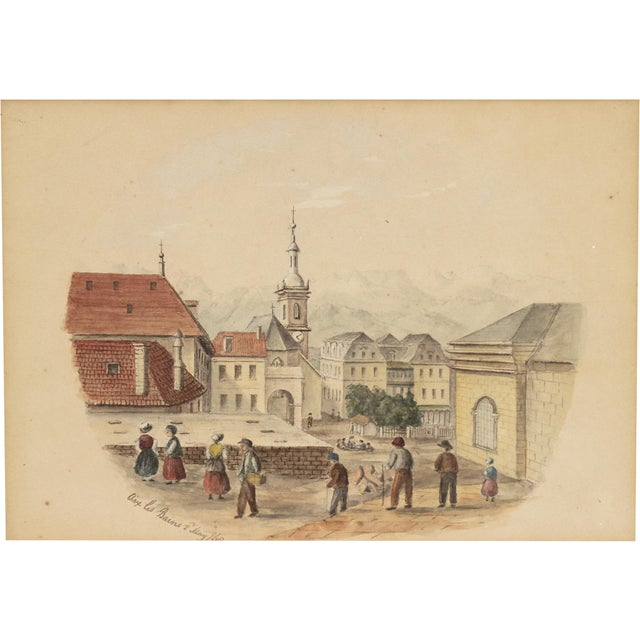 French 1868 Original Antique French Architectural Watercolor Painting For Sale - Image 3 of 4