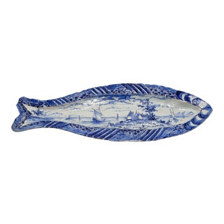 Rare Early Antique Dutch Delft Herring Dish For Sale