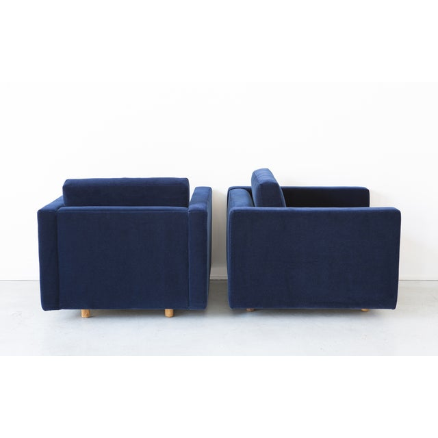 Jack Cartwright Blue Mohair Cube Chairs - Pair - Image 6 of 11