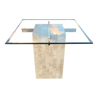 Maitland-Smith Style Tessellated Stone Brass & Glass Pedestal Table For Sale