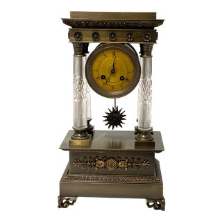 Antique 1920s Louis XVI Style Bronze Mantle Clock For Sale