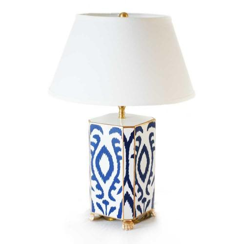 Navy & White Ikat Tole Table Lamp - Image 2 of 3