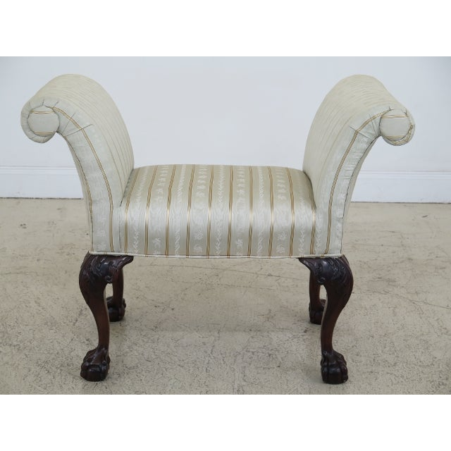 1990s Chippendale Carved Mahogany Rolled Arm Bench For Sale - Image 13 of 13