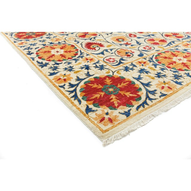 """Suzani Orange & Red Hand-Knotted Rug - 8'2"""" X 10'5"""" - Image 2 of 3"""