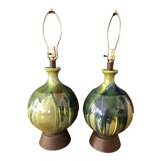 Mid Century Ceramic Drip Lamps - a Pair For Sale