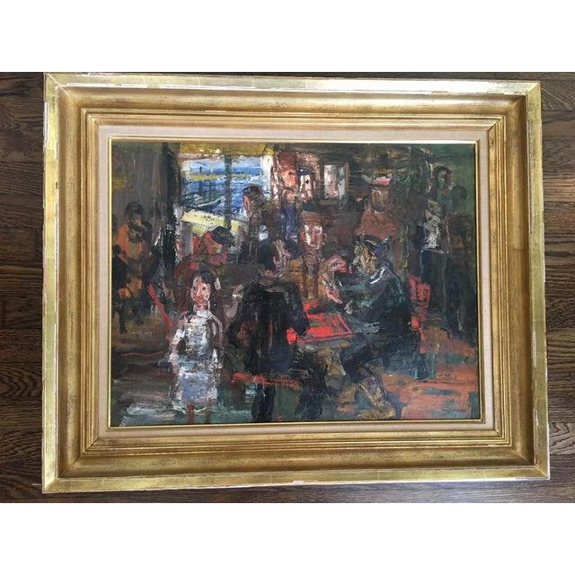 Green 1950s Vintage Paul Maas 'Cafe à Ile J Ebge' Oil on Canvas Painting For Sale - Image 8 of 8