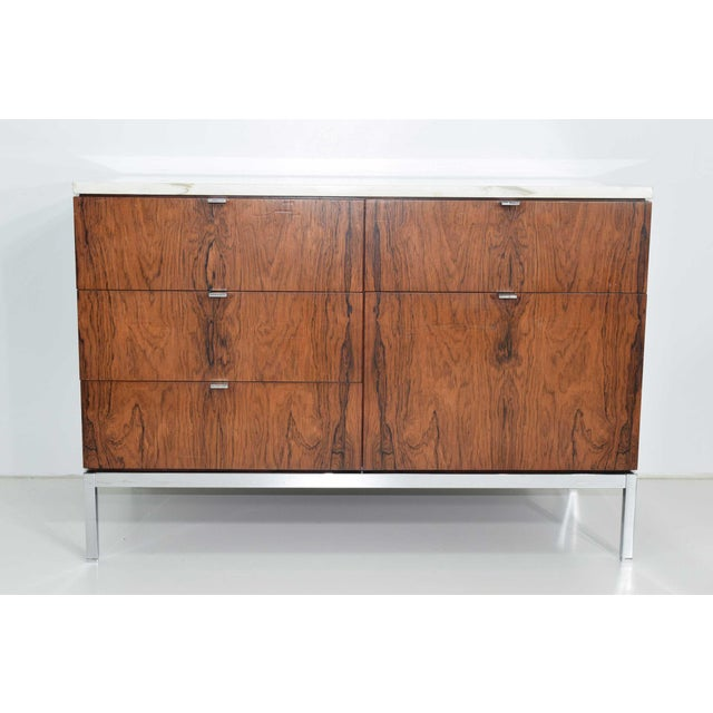 Florence Knoll Rosewood Credenza With Calacatta Marble Top For Sale - Image 9 of 9