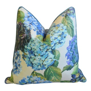 "Designers Guild Hydrangea Blossom Floral Feather/Down Pillow 24"" Square For Sale"