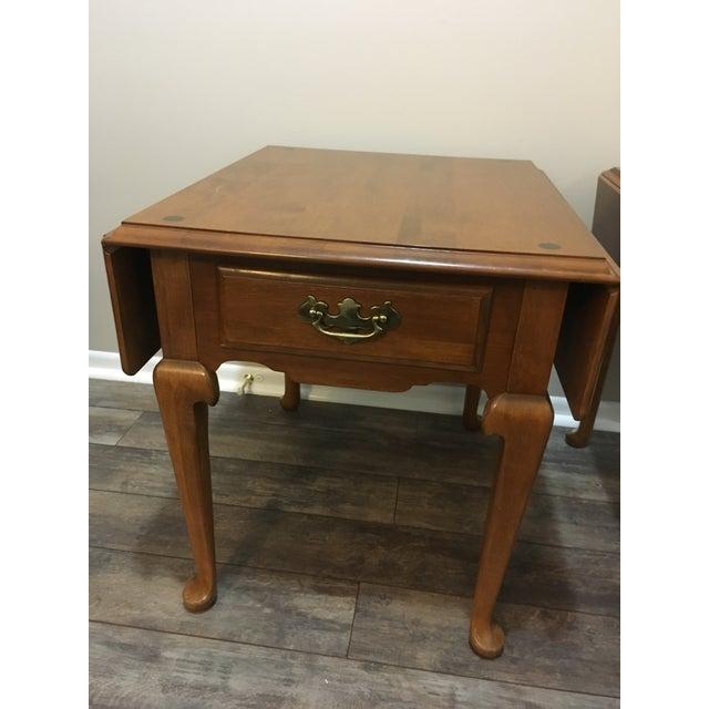 Vintage Ethan Allen Drop Leaf Side Tables - a Pair - Image 2 of 13