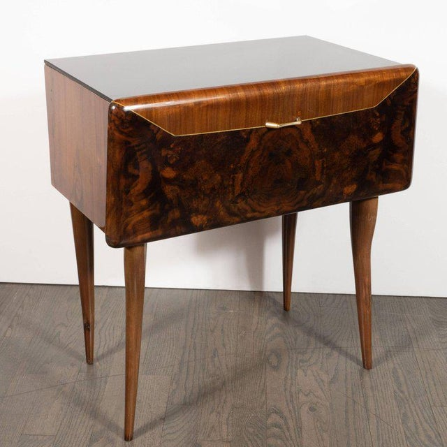 Pair of Mid-Century Italian Nightstands/End Tables in Exotic Bookmatched Wood For Sale - Image 9 of 12