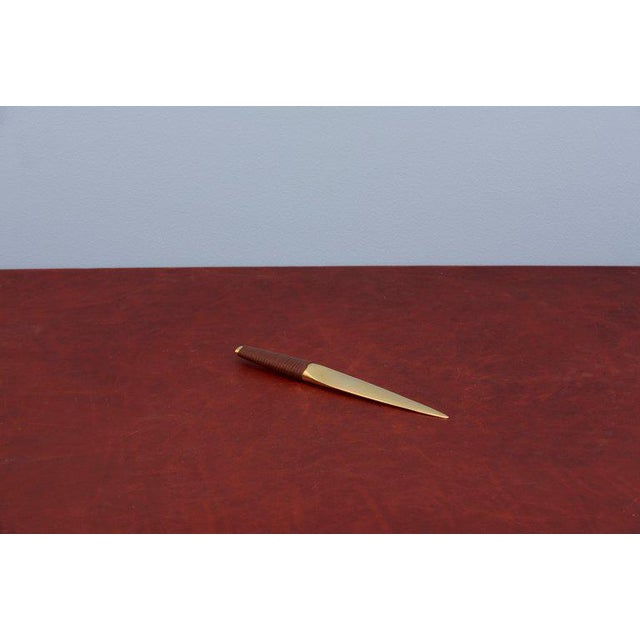 Mid-Century Modern Carl Auböck Paperknife With Leather Handle #4233 For Sale - Image 3 of 9