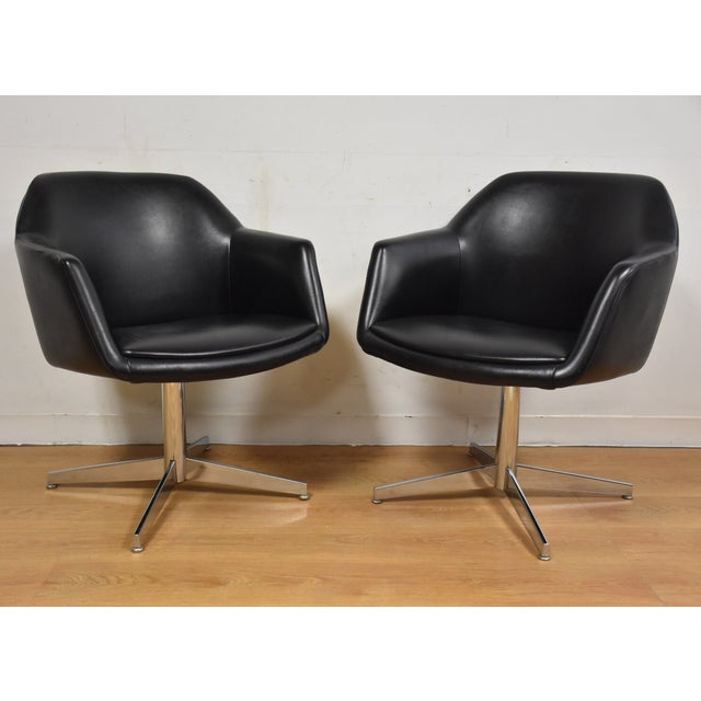 Steelcase Black & Chrome Lounge Chairs - A Pair - Image 2 of 9