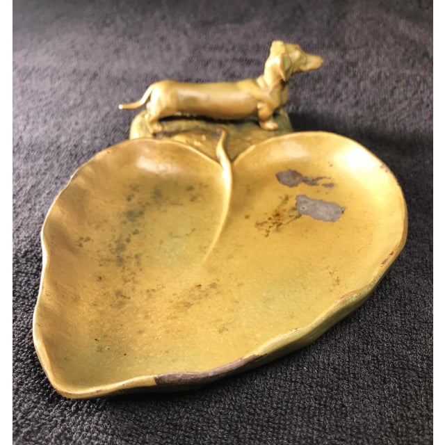 1920s rare McClelland Barclay bronzed, patinated metal Art Nouveau dachshund trinket dish. For the dog or animal lover,...