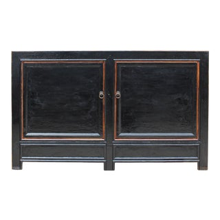 Distressed Rustic Gloss Black Lacquer Credenza Sideboard Table Cabinet For Sale