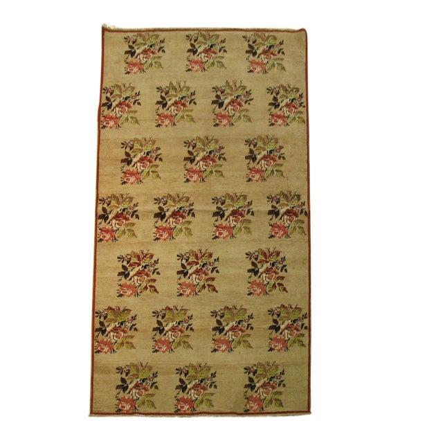 """Turkish Floral Camel Rug - 3'10"""" x 7'2"""" - Image 1 of 3"""
