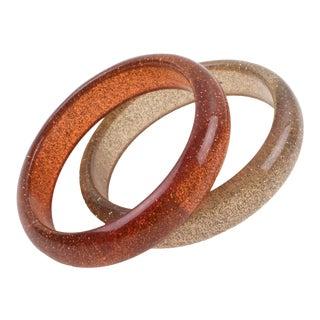 Orange Range Lucite Bracelet Bangle With Metallic Confetti Inclusions, Set of 2 For Sale