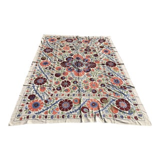 Handmade Suzani Floral King Size Bedspread / Table Cover - 8' X 6'