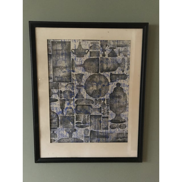 Mid-Century Abstract Objects by Irene Pasinski, Framed For Sale - Image 4 of 4