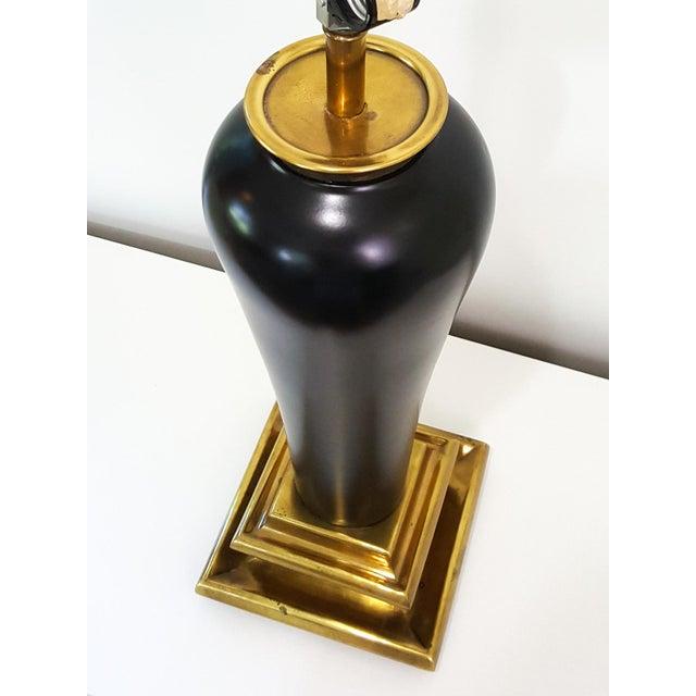 Chapman 1980s Art Deco Revival Black Ceramic Lamp - Image 5 of 10