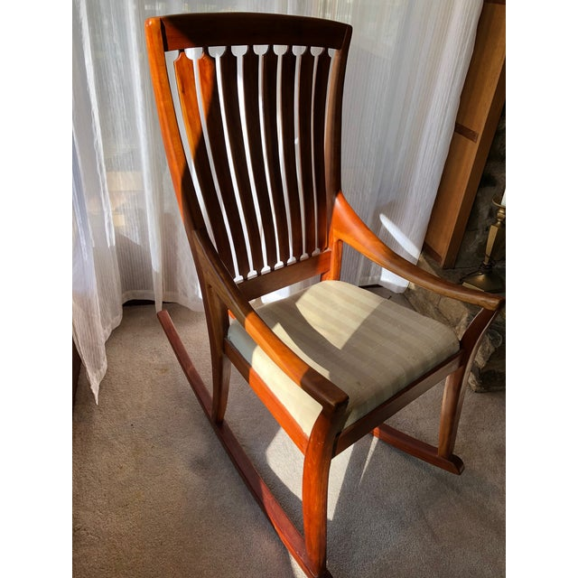 1960s Mid-Century Modern Traditional Cherry and Walnut Rocking Chair For Sale - Image 5 of 13