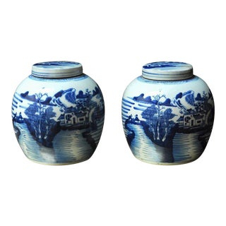 Chinese Blue & White Porcelain Round Ginger Jars - A Pair