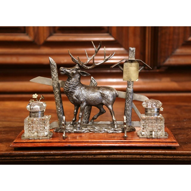 Mid 20th Century French Spelter and Cut Glass Inkwell With Deer Sculpture For Sale - Image 4 of 10