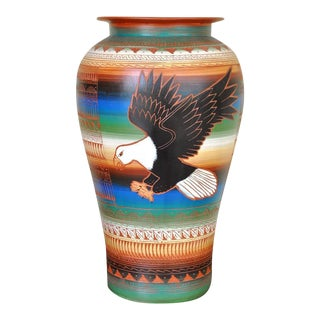 "Navajo Style Betty Sum Dim Hand Etched Flying Eagle Pottery Vase - 16"" For Sale"