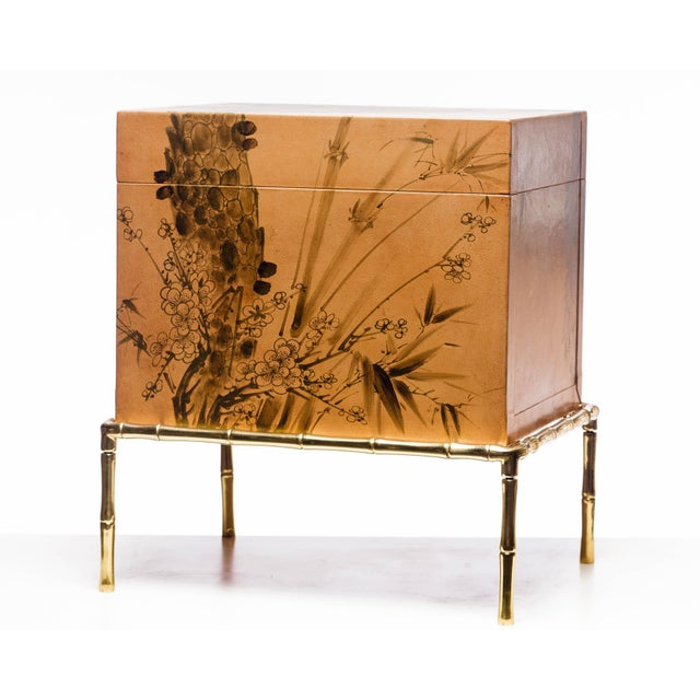 Showroom sample. An interior designer favorite as a side table or nightstand. This lacquered top-grade water buffalo hide...