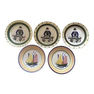 French Quimper Plates - Set of 5