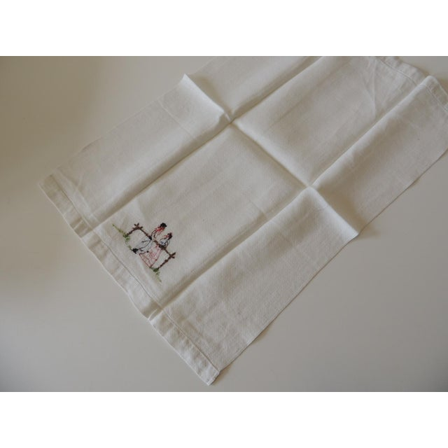 Vintage Pink and Orange Embroidered Bathroom Guest Towel For Sale - Image 4 of 5
