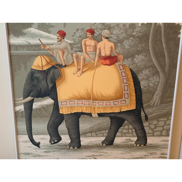 "Fabulous framed DeGournay Panels Early Views of India. Paille Color Way. Crystal Grey Scenic Paper Frame: 3/4"" swan shape,..."