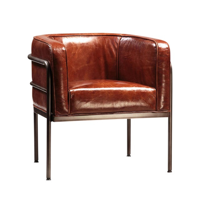 Vintage Leather Barrel Arm Chair - Image 1 of 2