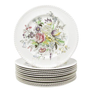 Vintage Johnson Brothers Garden Bouquet Dinner Plates - Set of 12 For Sale